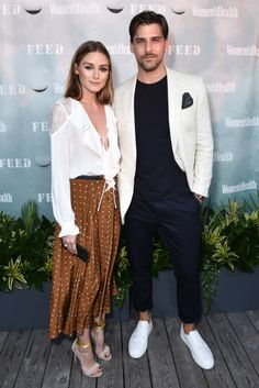 Olivia Palermo and Johannes Huebl attend Women's Health and FEED's 6th Annual Party Under the Stars at Bridgehampton Tennis and Surf Club on August 5...