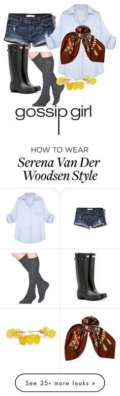 """Gossip girl - Serena Van Der Woodsen"" by maaramo on Polyvore featuring mode, Abercrombie & Fitch, Wigwam, Hunter, Bourbon and Boweties en Hermès"