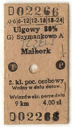 Vintage Polish train ticket-By the way Malbork is a lovely place to visit.