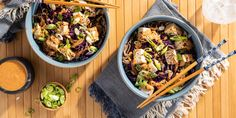Soba Noodle Bowls with Red Curry Almond Butter Dressing Carrot Recipes, Vegan Recipes Easy, Lunch Recipes, Vegetarian Recipes, Diet Recipes, Sweet Potato Tacos, Crispy Chickpeas, Bean Stew, Soba Noodles