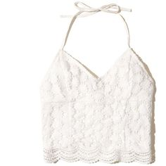 Hollister Lace Halter Crop Top (605 PHP) ❤ liked on Polyvore featuring tops, shirts, crop top, hollister, white lace, white shirts, halter-neck crop tops, cropped tops, v-neck shirt and lace shirt