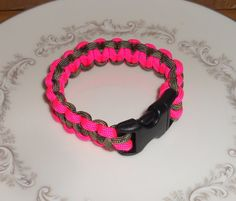 PARACORD BRACELET- Hot Pink & Camouflage Green w/Black Buckle -* Survival Gear -*550 Paracord -*Survival Bracelet -*Paracord Accessories