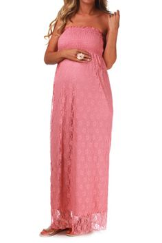 pink lace maternity maxi dress