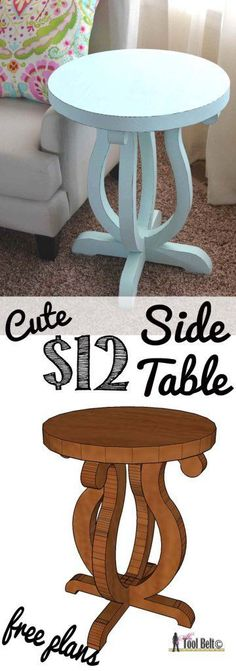 DIY Furniture - Build a cute side table from a simple 2 x 10 board. Free plans and pattern on hertoolbelt.com