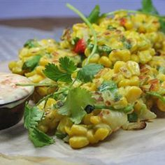 Coriander and chilli sweetcorn fritters