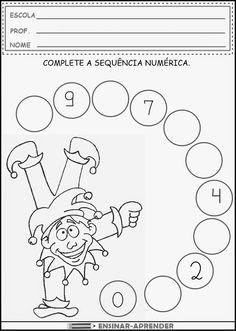 ATIVIDADES DE CARNAVAL PARA IMPRIMIR | Cantinho do Educador Infantil Kindergarten Math Worksheets, Alphabet Worksheets, Learning Activities, Numbers Preschool, Preschool Activities, Birthday Charts, Math For Kids, Kids Education, Math Centers