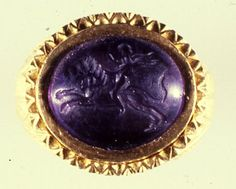 Roman ring set with an amethyst engraved with Cupid riding a lion, part of the Thetford hoard #RomanBritain Norfolk