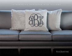 monogrammed cowhide pillows