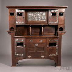 English Arts & Crafts Cupboard Oak, pewter, glass c. 1900.