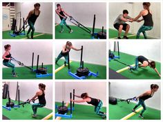 Try these Sled Exercises and Variations for a full-body workout. Sled Workouts are a great way to strengthen your legs while getting your heart rate up!