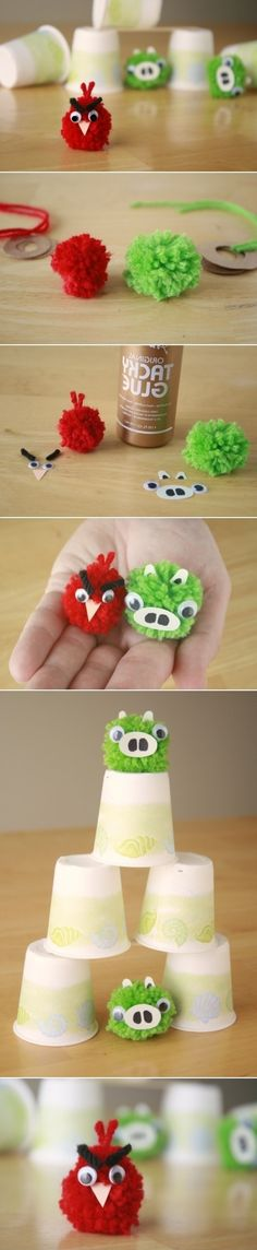 DIY Angry Birds Yarn Pom-Poms (might get the boys keen to make? Make some of the facial accessories & an example! Fun Diy Crafts, Yarn Crafts, Paper Crafts, Diy For Kids, Crafts For Kids, Arts And Crafts, Festa Angry Birds, Bird Party, Pom Pom Crafts