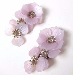 Big Vintage Purple Plastic Clusters of Flowers Clip on Earrings Rhinestones #Unbranded #Cluster