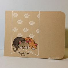 Cat Luvs Paper: Thinking of You   Card with two kitties   Stamps by Newton's Nook Designs