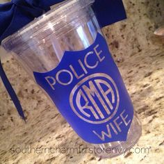 Show your support for LE with this beautiful decal!  This Police Wife Monogram 16 oz. Tumbler is BPA Free acrylic, double wall insulated, and come with a screw on lid and plastic straw.    Our vinyl is rated top quality on all our items and has an outdoor life of 6 years.  Please keep in mind It ...