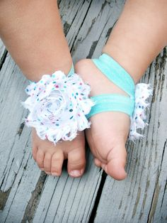 Baby Barefoot Sandals .. White Flower with Colorful Polka Dots .. Toddler Sandals .. Newborn Sandals. $6.50, via Etsy.