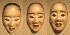 Three pictures of the same nō 'hawk mask' showing how the expression changes with a tilting of the head. The mask was afixed to a wall with constant lighting and only the camera moved.