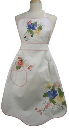 White Cotton Full Apron with Color Floral Applique and Pink Trim