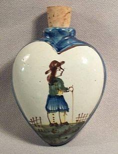 RARE Antique Circa 1875 Quimper Secoutte Snuff Scent Pottery Bottle Very RARE | eBay