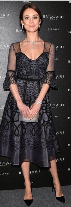 Olga Kurylenko wearing Bulgari and Temperley London                                                                                                                                                      More