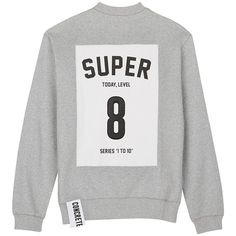 Studio Concrete 'Series 1 to 10' unisex sweatshirt - 8 Super ($200) ❤ liked on Polyvore featuring tops, hoodies, sweatshirts, sweaters, grey, sweat shirts, grey top, gray sweatshirt, grey sweatshirt and low tops