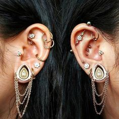 ideas for piercing eyebrow stretched ears Tragus, Septum Piercings, Gauges, Peircings, Opal Earrings, Rose Gold Earrings, Unique Ear Piercings, Ear Piercings Industrial, Ear Jewelry