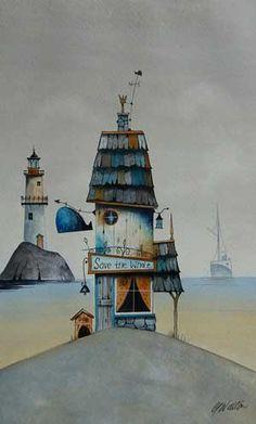 Gary Walton watercolour 'Save the Whale'