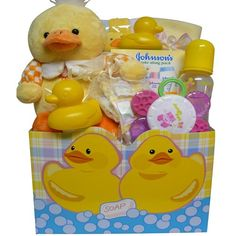 Sweet Baby Rubber Ducky Bath Time Gift Basket for Boys or Girls $39.99