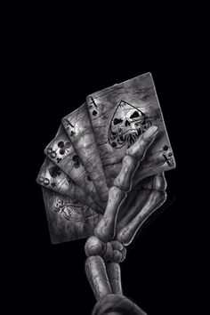 the infamous 'dead man's hand' - aces and eights, so if you want a 'spread' of cards, these are the ones to go for for me :) (if you ever saw deadwood, that was wild bill's hand. Dead Mans Hand Tattoo, Pink Skull Wallpaper, Aces And Eights, Skull Pictures, Male Hands, Skull Tattoos, Tatoos, Grim Reaper, Ghost Rider