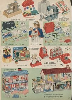 1957 Sears Christmas Catalog Wishbook The dollhouse bottom right looks like the one I had as a kid. Retro Advertising, Vintage Advertisements, Vintage Ads, Vintage Trends, Retro Christmas, Vintage Holiday, Xmas, Childhood Toys, Childhood Memories