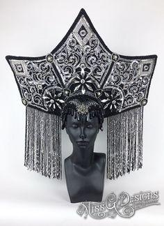 Black & Silver Headdress by MissGDesignsShop on Etsy