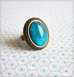 Marquise Turquoise Ring Aqua Teal Vintage Style Exotic Statement Ring Cocktail Ring Blue Green Antique Brass Brown Great Gatsby