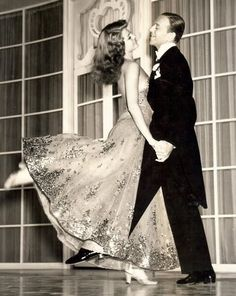 Rita Hayworth & Fred Astaire. Most people think of Fred and Ginger, but he had so many other partners (and some say Rita was one of the best he ever danced with).