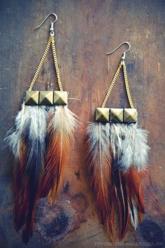 Woodsy Pixie Earthy Grizzly Feathers Hippie Bohemian Earings Feather Jewelry Natural Feather Earrings