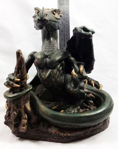 Mythical Dragon Sculpture Statue Figure Handmade Original Western Dragon
