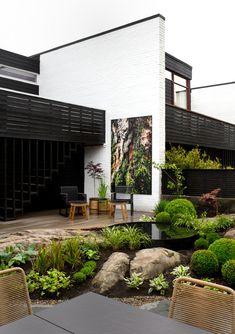Modern Garden Design, Japanese Design, Black Decor, Garden Inspiration, Garden Landscaping, Home And Garden, Backyard, Exterior, House Design