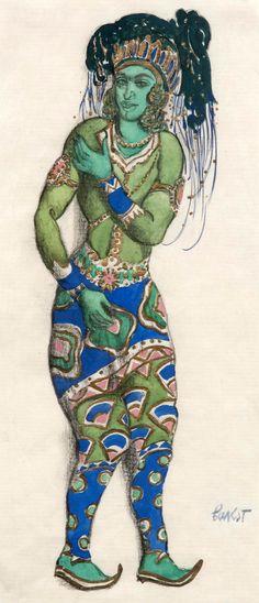 Léon Baskt - Ballets Russes - Costume - Esquisses et Croquis - Le Dieu Bleu - 1911