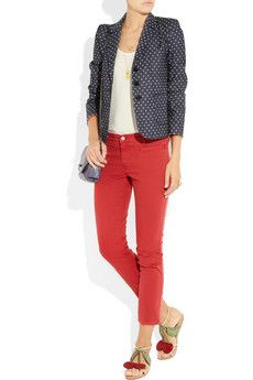Sonia by Sonia Rykiel, Polka dot-print stretch-denim blazer.