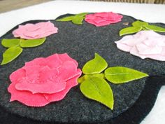 Candle mat in felted wool with four roses by QuiltAndFabricItems, $30.00