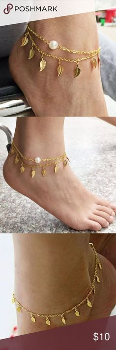 Gold leaf anklet Gold leaf anklet with pearl detailing (all faux obviously). WABI SABI BOUTIQUE Jewelry