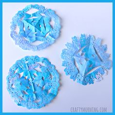 Make snowflake doilies for a winter craft! Kids will love using watercolors and hanging them up for garland.