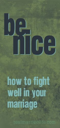 Be Nice:  how anyone can fight well in their marriage with maturity and patience.  realmarriedlife.com