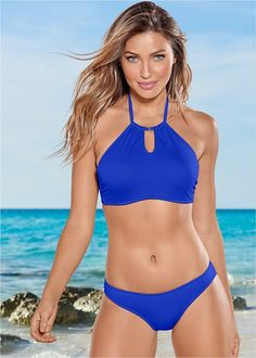2397d238d00da7 Front view Keyhole High Neck Top Venus Swimwear