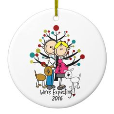 "A cute, fun ceramic ornament featuring a stick figure expectant couple, a brown dog and a white dog, holiday tree, and text that reads ""We're Expecting!"" with an area you can add the current year! Penguin Ornaments, Snowman Ornaments, Holiday Ornaments, First Christmas Together Ornament, Babies First Christmas, Stick Figure Family, Wedding Ornament, Personalized Ornaments, Stick Figures"