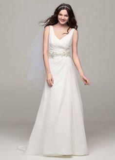Chiffon A Line Gown with Beaded Waist AI10043128