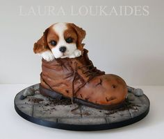 Charlie and his Boot Cake by Laura Loukaides - For all your Dog cake decorating… Unique Cakes, Creative Cakes, Fancy Cakes, Cute Cakes, Beautiful Cakes, Amazing Cakes, Fondant Cakes, Cupcake Cakes, Cupcakes Decorados