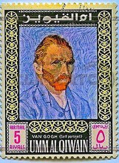 Briefmarke mit Vincent van Gogh, Selbstporträt