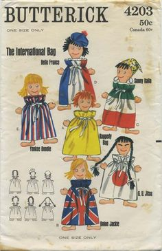 Vintage Sewing Pattern for Pajama Bag Dolls | a) Raggedy Bag; b) Union Jackie; c) Sunny Italia; d) Belle France; e) Yankee Doodle; f) G.U. Jitsu | Butterick 4203 | Year 1966 | One Size