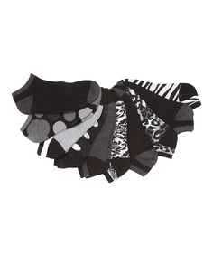 Loving this Black & Gray Jungle No-Show Socks Set on #zulily! #zulilyfinds