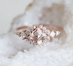 Morganite ring Rose gold engagement ring Pear shaped engagement ring Unique Crown Diamond wedding Bridal Jewelry Anniversary gift for women Description: - Vintage style Morganite and diamond ring - Natural Conflict free diamonds. Morganite Engagement, Morganite Ring, Rose Gold Engagement Ring, Vintage Engagement Rings, Diamond Shaped Engagement Ring, Solitaire Ring, Diamond Cluster Ring, Gold Diamond Rings, Diamond Wedding Bands