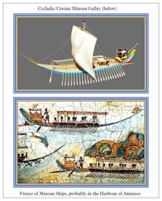 Minoan ships, with their extremely low gunwales and profile, were suitable only for navigation in the Mediterranean #Minoan #Cycladic #ship #fresco Click to ENLARGE